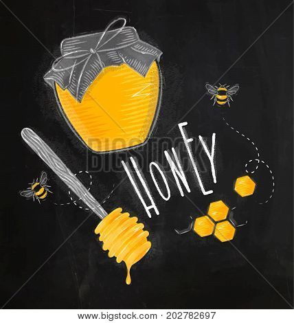 Illustrated elements honey spoon honeycombs bank with honey bees lettering honey drawing on chalk background
