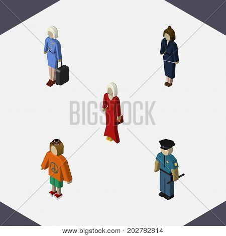 Isometric Person Set Of Businesswoman, Female, Hostess And Other Vector Objects