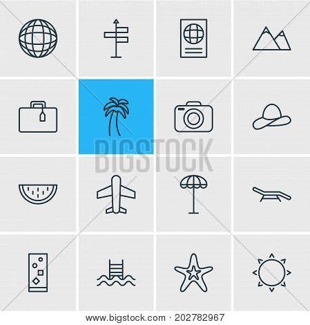 Editable Pack Of Earth, Cap, Certificate And Other Elements.  Vector Illustration Of 16 Summer Icons.