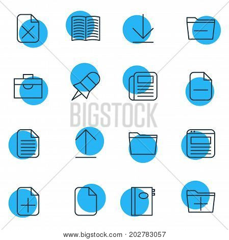 Editable Pack Of Template, Document, Portfolio And Other Elements.  Vector Illustration Of 16 Bureau Icons.