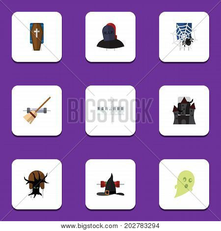Flat Icon Celebrate Set Of Fortress, Terrible Halloween, Skeleton And Other Vector Objects