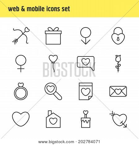 Editable Pack Of Soul, Lock, Engagement And Other Elements.  Vector Illustration Of 16 Passion Icons.