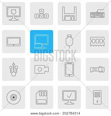 Editable Pack Of Qwerty Board, Storage, Mainframe And Other Elements.  Vector Illustration Of 16 Laptop Icons.