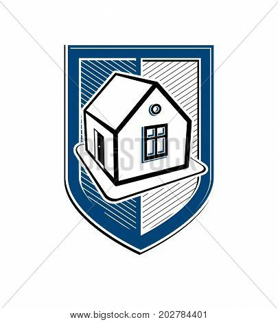 Home insurance conceptual vector icon protection shield with simple house. Design element construction idea. Heraldry.