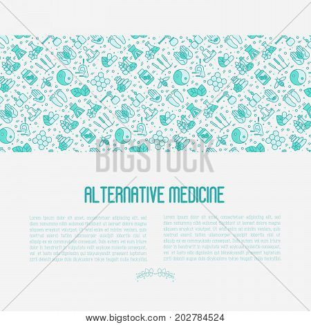 Alternative medicine concept with thin line icons. Vector illustration of banner, print media or web site for yoga, acupuncture, wellness, ayurveda, chinese medicine, holistic center.