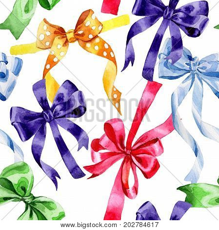 Watercolor holiday colorful ribbon pattern bow greeting illustration. Festive decoration bunting clip art. Birthday party design elements set. Isolated on white background. Aquarelle elements for background, texture, wrapper pattern.