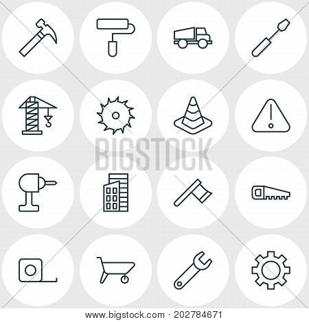 Editable Pack Of Electric Screwdriver, Hacksaw, Handcart Elements.  Vector Illustration Of 16 Structure Icons.