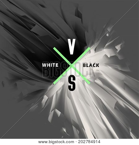 Black and white versus abstract background. Opposition of white and black energy the collision of good and evil light and dark vector illustration.