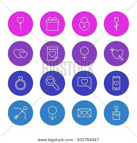 Editable Pack Of Woman, Invitation, Engagement And Other Elements.  Vector Illustration Of 16 Love Icons.