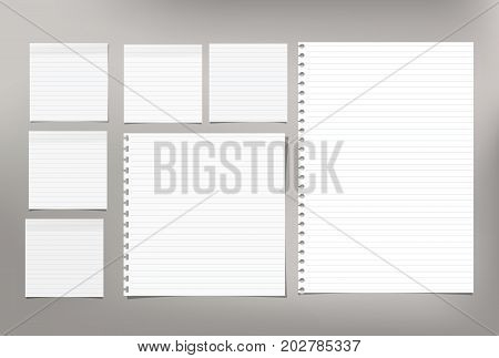 White note paper, copybook, notebook sheet stuck on light gray background