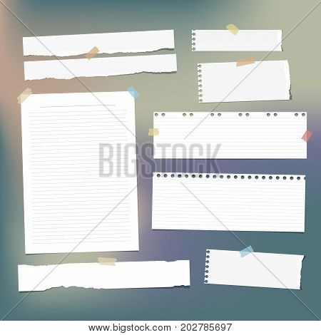 White striped note paper, copybook, notebook sheet stuck with adhesive tape on colorful background
