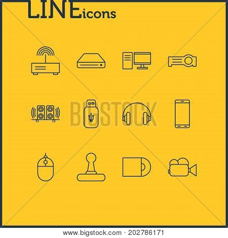 Editable Pack Of Usb Card, Camcorder, Game Controller And Other Elements.  Vector Illustration Of 12 Technology Icons.