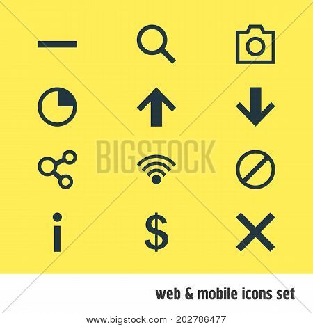 Editable Pack Of Info, Magnifier, Access Denied And Other Elements.  Vector Illustration Of 12 User Icons.
