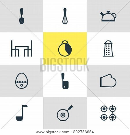 Editable Pack Of Butcher Knife, Furnace, Oven Mitts And Other Elements.  Vector Illustration Of 12 Cooking Icons.