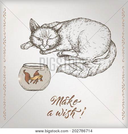 Romantic vintage birthday card template with calligraphy, cat and goldfish sketch. Great for holiday design.