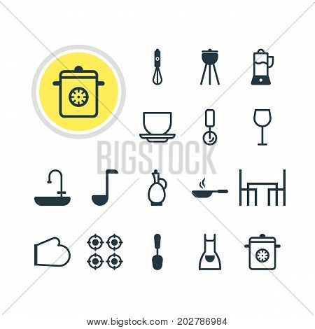Editable Pack Of Coffee Cup, Smock, Tablespoon And Other Elements.  Vector Illustration Of 16 Kitchenware Icons.