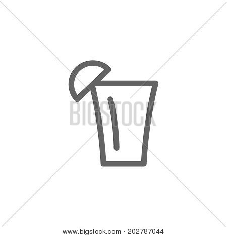 Simple tequila shot line icon. Symbol and sign vector illustration design. Editable Stroke. Isolated on white background