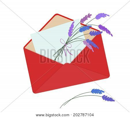 Letter in red envelope with bouquet of lavender. Romantic conception. Isolated on white background. Letter on Valentine's Day. Flat icon. Vector illustration. Horizontal location.