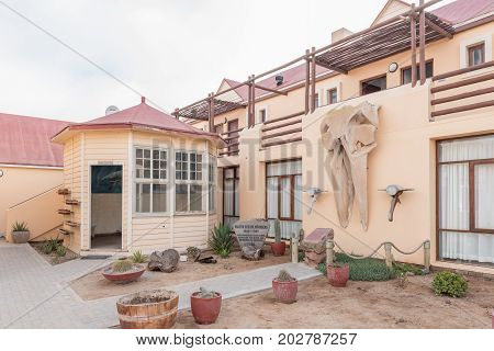 CAPE CROSS NAMIBIA - JUNE 28 2017: A display with a memorial at Cape Cross Lodge in the Dorob National Park of Namibia
