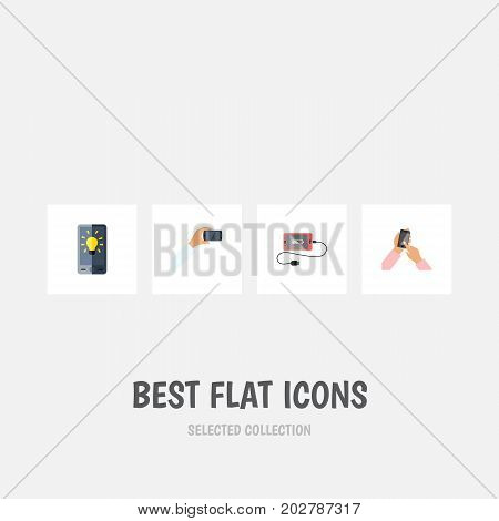 Flat Icon Touchscreen Set Of Interactive Display, Accumulator, Smartphone And Other Vector Objects