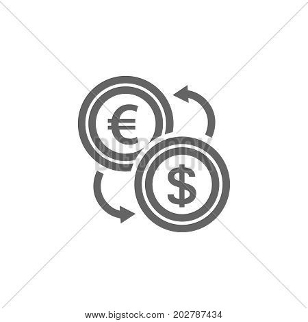Simple currency converter line icon. Symbol and sign vector illustration design. Editable Stroke. Isolated on white background