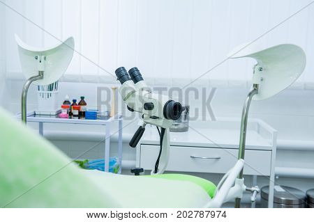 Close Up Colposcope In Gynecological Room. Selective Focus
