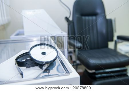 Close Up Medical Equipment Of Otolaryngologist. Medical And Healthcare Concept. Selective Focus. Cop