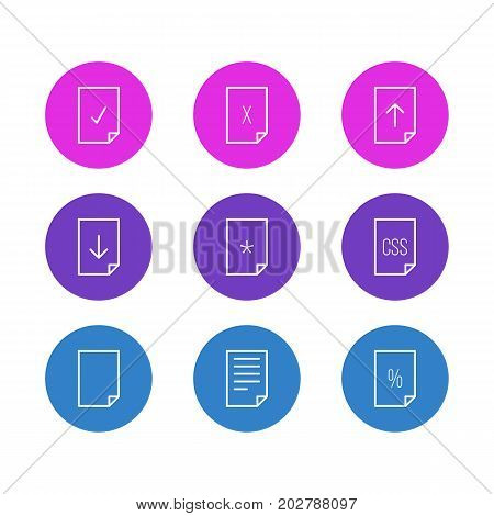Editable Pack Of Basic, Document, Upload And Other Elements.  Vector Illustration Of 9 Page Icons.