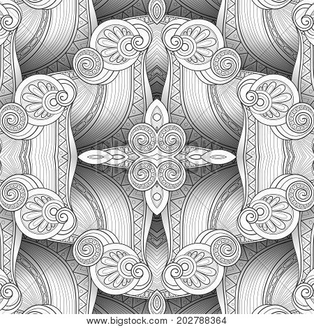Vector Monochrome Seamless Abstract Tribal Pattern With Waves