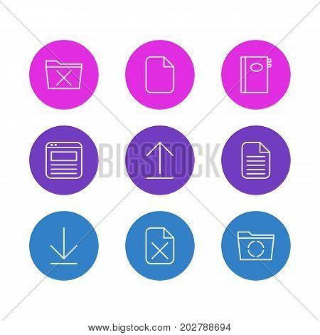 Editable Pack Of Loading, Downloading, Remove And Other Elements.  Vector Illustration Of 9 Bureau Icons.