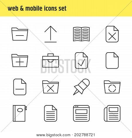 Editable Pack Of Install, Loading, Textbook And Other Elements.  Vector Illustration Of 16 Bureau Icons.