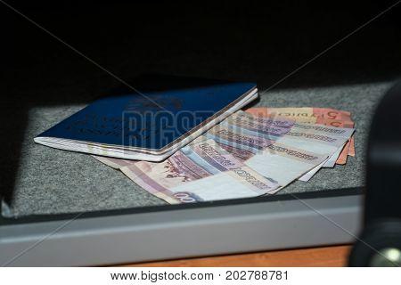 Cash Money Safe Deposit. Small Residential Vault With Cash Money And Passport. Closeup Photo