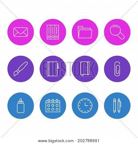 Editable Pack Of Letter, Archive, Zoom And Other Elements.  Vector Illustration Of 12 Tools Icons.