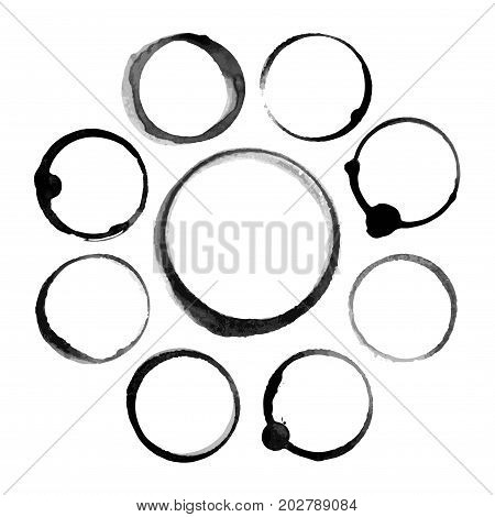Set of abstract black ink stain circles. Isolated on white background. Vector illustration. Watercolor stain. Aquarelle, paint blotch. Speech bubble