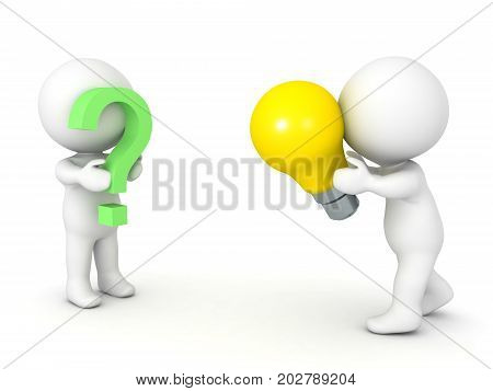 3D illustration depicting the concept of offering a solution to a problem. Isolated on white.