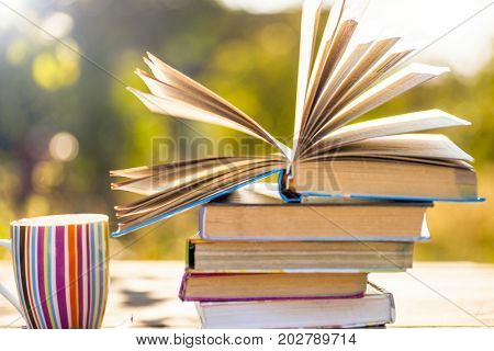 Open Book On Wooden Table On Natural Background. Soft Focus