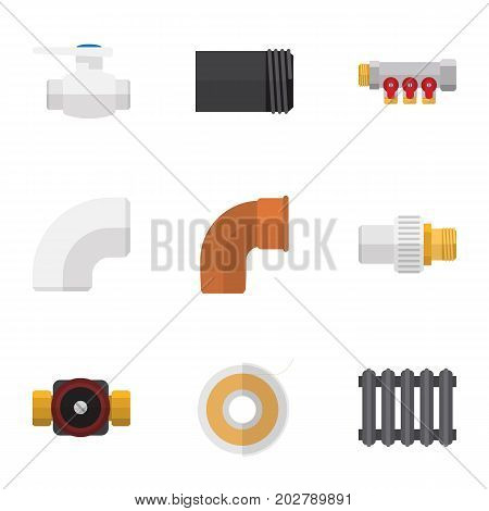 Flat Icon Pipeline Set Of Industry, Iron, Plastic And Other Vector Objects