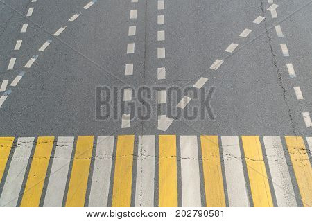 Road Marking And Pedestrian Crossing At The Intersection