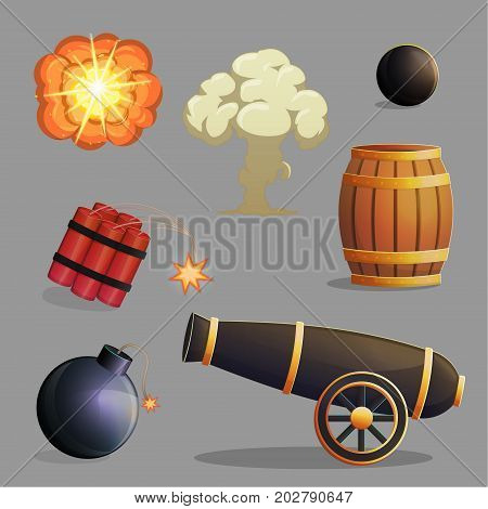 Collection of dangerous explosive items and explosions cannon gunpowder and cannon balls dynamite bomb and fire explosions. Game and app ui icons.
