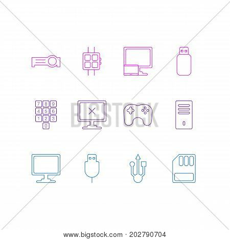 Editable Pack Of Mainframe, Modern Watch, Screen And Other Elements.  Vector Illustration Of 12 Notebook Icons.