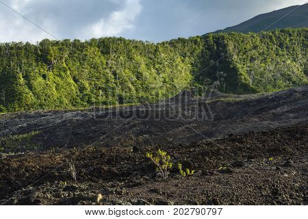 Old Crater Of Fournaise Volcano At Reunion Island