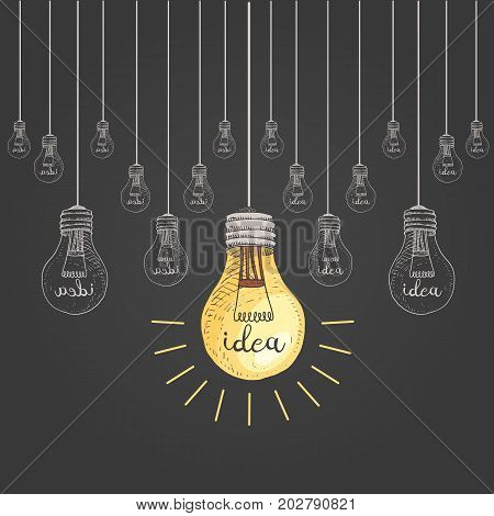 lightbulb or idea. engraved hand drawn in old sketch and vintage symbols. Back to School Elements