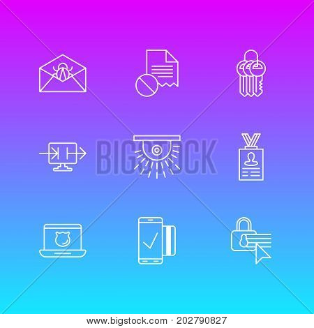 Editable Pack Of Confidentiality Options, Easy Payment, Corrupted Mail And Other Elements.  Vector Illustration Of 9 Security Icons.