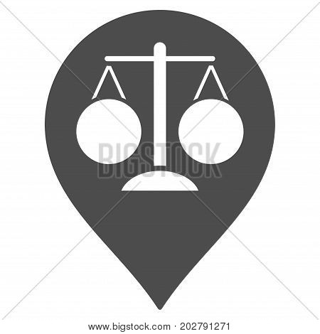 Court Map Marker vector pictograph. Style is flat graphic gray symbol.