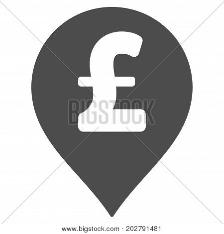 Pound Sterling Marker vector pictogram. Style is flat graphic gray symbol.