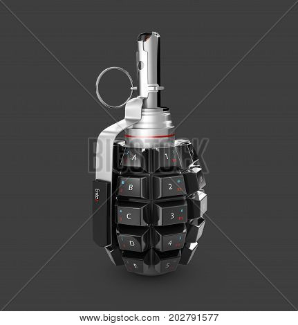3D illustration of grenade with keyboard. Isolated on black background