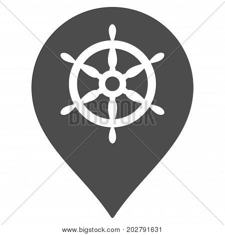 Ship Wheel Marker vector pictograph. Style is flat graphic grey symbol.