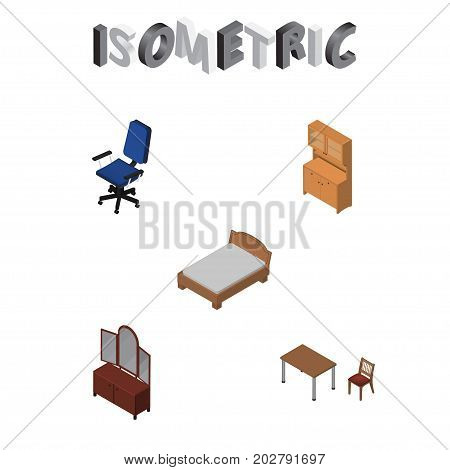 Isometric Furnishing Set Of Chair, Bedstead, Drawer And Other Vector Objects