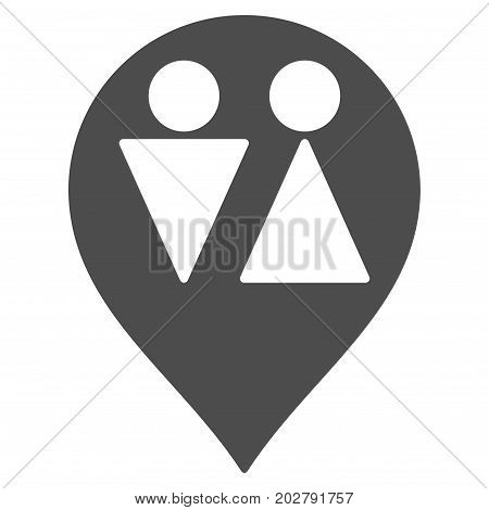 WC Map Marker vector pictograph. Style is flat graphic grey symbol.