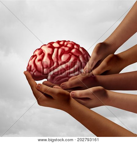 Neurology health group care as diverse hands holding a human brain as a team psychology metaphor with 3D illustration elements.
